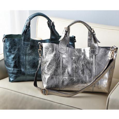 Anissa Metallic Leather Handbag