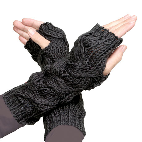Cambia Cableknit Fingerless Mittens