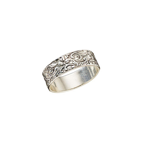 Baroque Floral Etched Ring