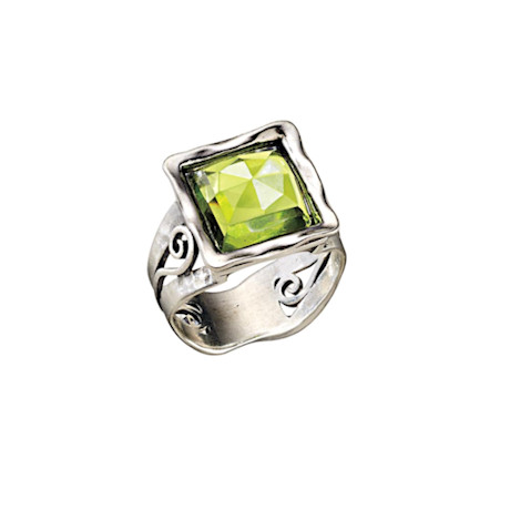 Peridot Square Ring