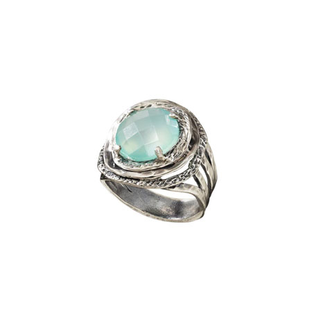 Moonglow Aqua Agate Bezel Ring