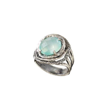 Moonglow Aqua Agate Bezel Ring