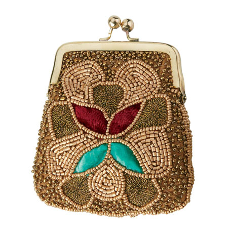 Embroidered Coin Purse - Gold