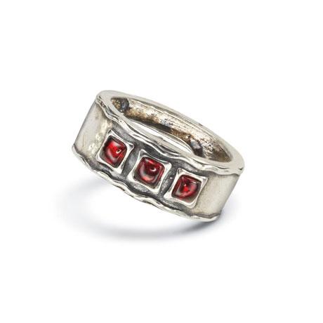 Vermilion Garnet Triple Garnet Ring