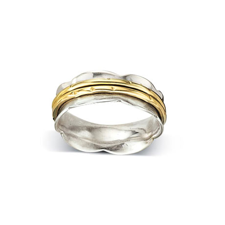 Scalloped Two-Tone Ring