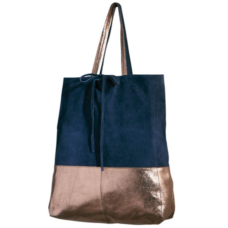 Metallic Suede Unstructured Tote
