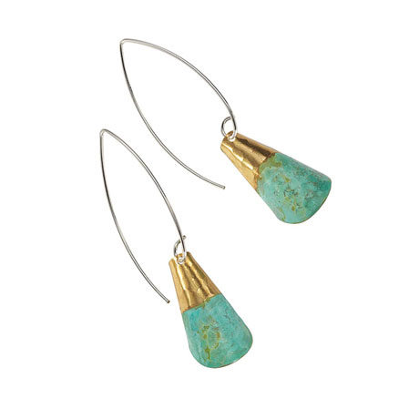 Antiqued Verdigris Brass Rolled Earrings