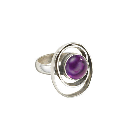 Orbiting Amethyst Ring