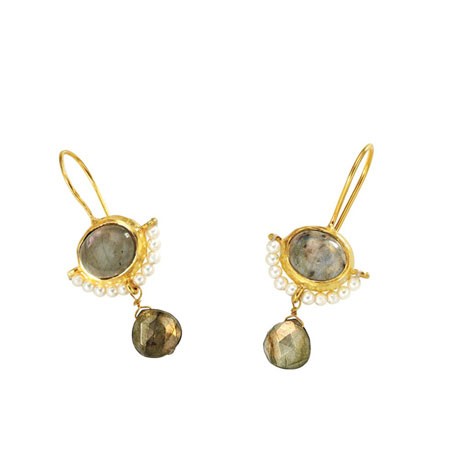 Gilded Stone-and-Pearl Earrings