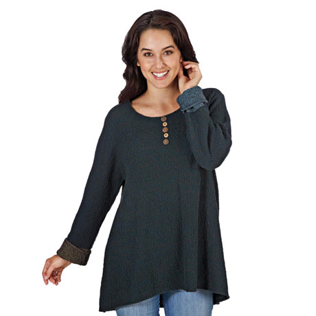 Nubby Cuffed Sweater Tunic Top