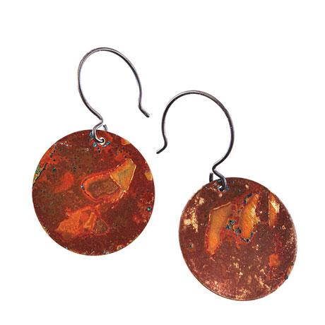 Natural Patina Brass Circle Earrings