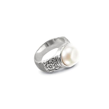 Pearl Bezel-Set Ring