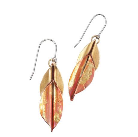 Mix Metal Copper Leaf Earrings