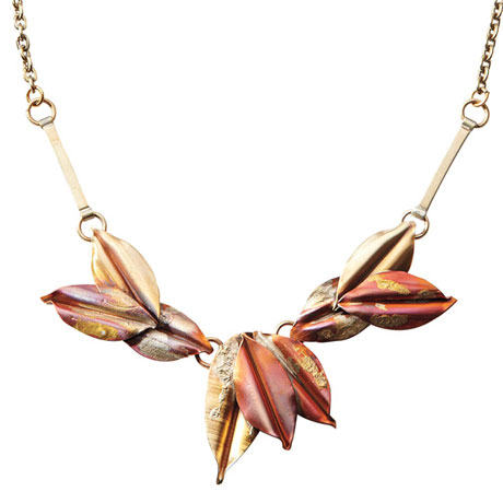 Mix Metal Copper Leaf Necklace