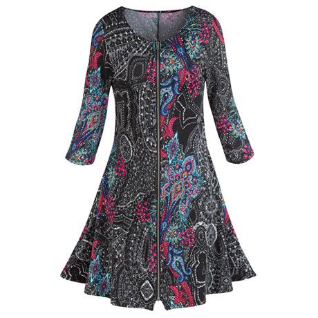 Pretty Paisley Zip-Front Dress