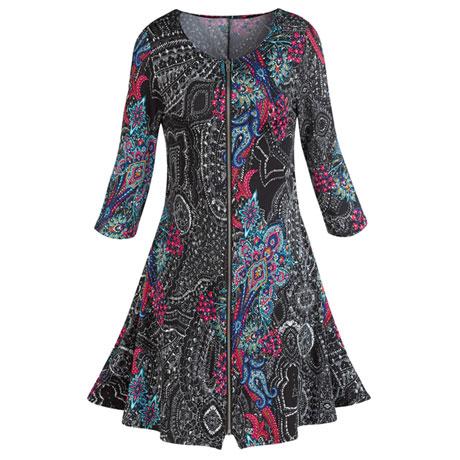 Pretty Paisley Zip-Front Dress