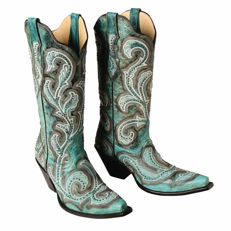 Western Mid-Calf Turquoise Boot