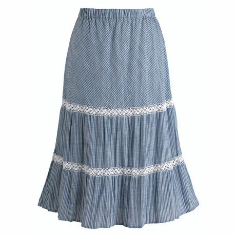 Blue And White Stripe Boho Skirt