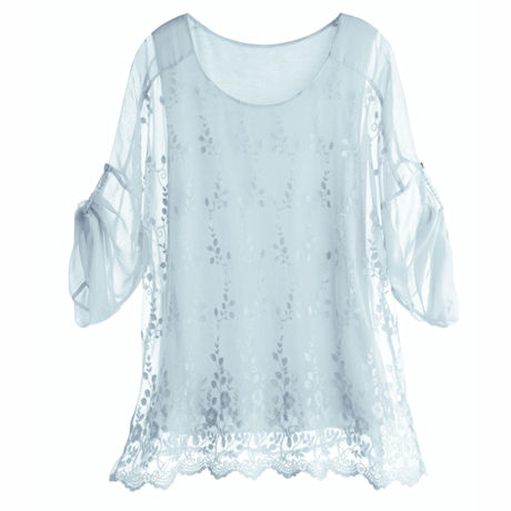 Embroidered Scallop Hem Tunic Top