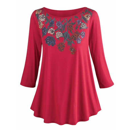 Sequins And Roses Knit Tunic Tee