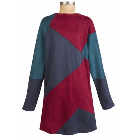 Faux Suede Colorblock Dress