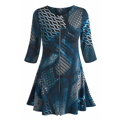 Blue Optic Zip Dress