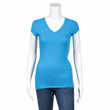 Solid Color V-Neck Blended Ladies-Fit Tagless T-Shirt