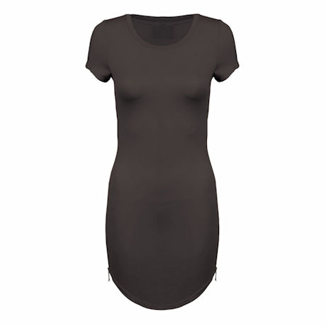Round Hem Long T-Shirt Dress with Side Zipper Ladies-Fit Solid Color