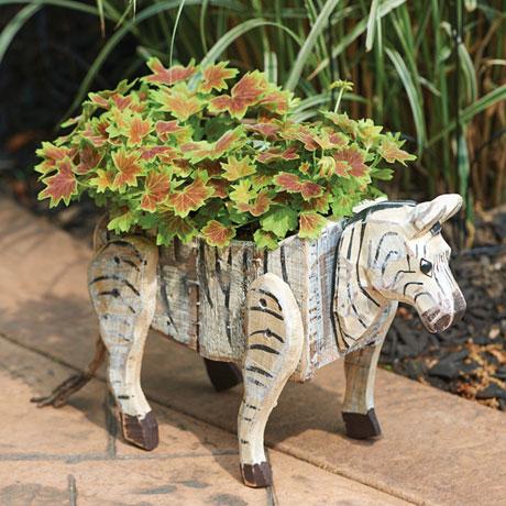Carved Wood Zebra Planter