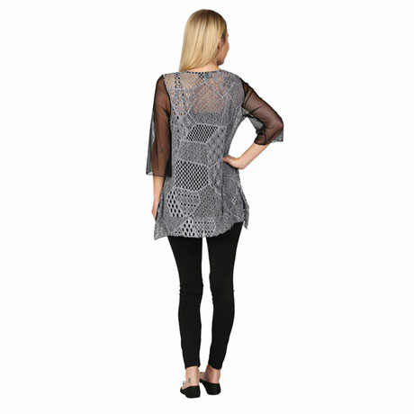 Sheer Azul Abstract Lace Layering Tunic Top