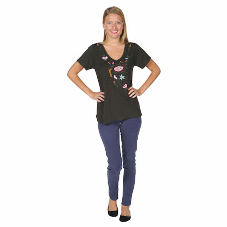 Knit Hi-Lo Floral Embroidered Tunic Top
