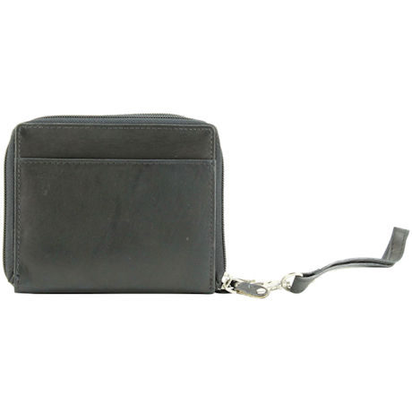 Double Zip Leather Wristlet