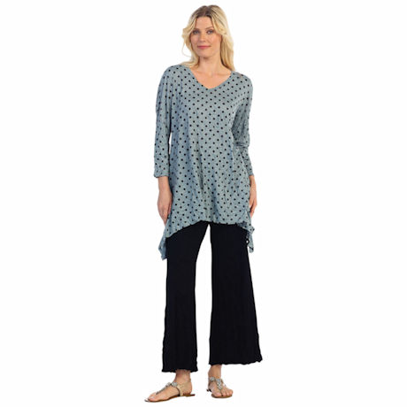 Jess & Jane Grey & Black Polka Dot 3/4 Sleeve Melange Crushed A-Line Long Tunic