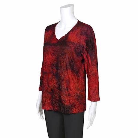 Jess & Jane Red Blue & Black Kaleidoscope 3/4 Sleeve Melange Crushed Tunic Top