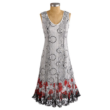 Red Poppy Border Dress