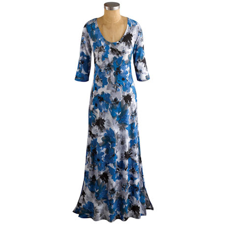 Watercolor Floral ¾-Sleeve Maxi Dress
