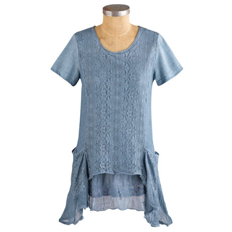 Crochet Embroidered Lace Pockets Tunic
