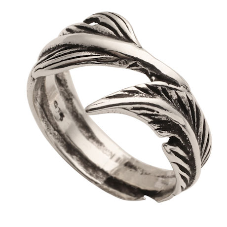 Oxidized Sterling Feather Wrap Ring