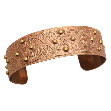 Chic Copper-Washed Cuff Bracelet - Beaded Floral