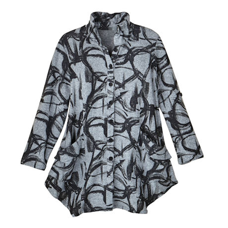 Brushstrokes Button-Front Tunic
