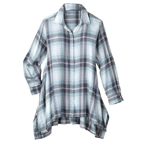 Muted Plaid Flannel Big Shirt