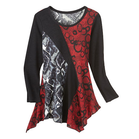 Long Sleeve Modern Red & Black Print Tunic