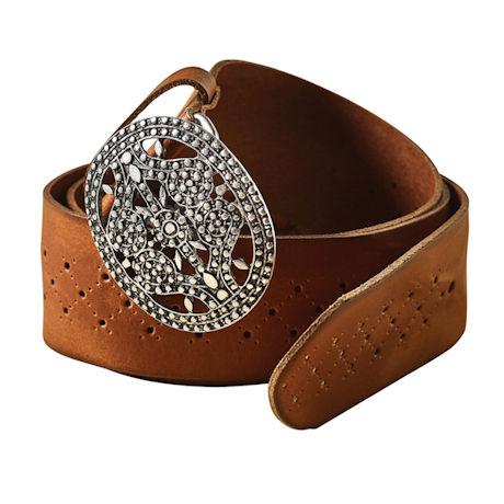 Filigree Buckle Leather Belt