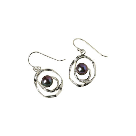 Peacock Pearl 'N Sterling Earrings