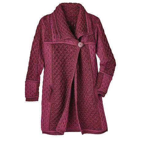 Irish Wool Cable-Knit Sweater Coat