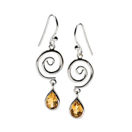 Sterling Spiral & Pear Citrine Earrings