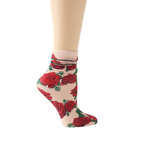 Mesh Stripe Floral Socks