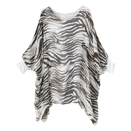Zebra Print Wash Silk Popover