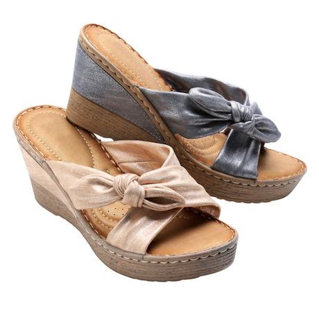 Faux-Tie Wedge Sandal