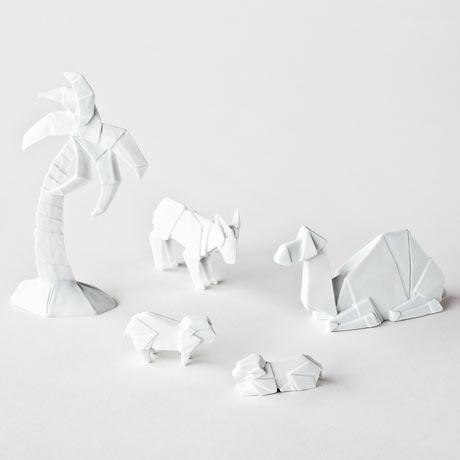 Origami Nativity Scene Figures Glazed Porcelain - Camel, Donkey, Sheep, Palm Tree